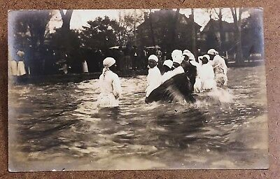 1908 Black Women in Water Baptism? Rare Real Photo Postcard RPPC North Carolina