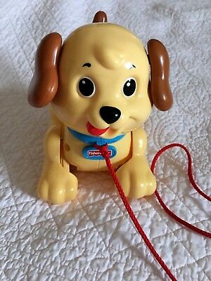 Vintage Reproduction Fisher Price Beige Puppy Dog Pull Toy Plastic Toddler