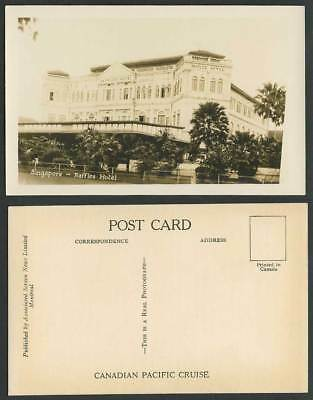Singapore Old Real Photo Postcard Raffles Hotel, Malaya, Canadian Pacific Cruise