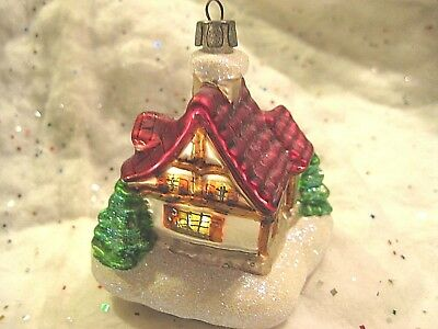 Beautiful Christmas Tree Glass House Ornament Red Roof White Glitter X-Mas Trees