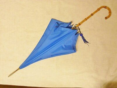 lovely 1960s paragon bright blue parasol or umbrella  cane handle s fox uk made