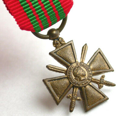 MINIATURE French Military Medal CROIX DE GUERRE Mini WWII Ribbon Bar-France-War