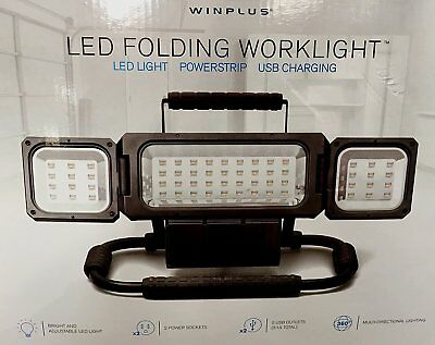 New ! Winplus LED Folding Worklight 2100 Lumens with 2 Power Sockets USB Outlets