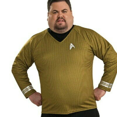 New Star Trek Movie Capt. Kirk Command Gold Adult Deluxe Uniform Shirt Size XXL