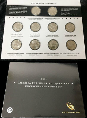 America The Beautiful Quarters Uncirculated 2011 Coin Set Unc