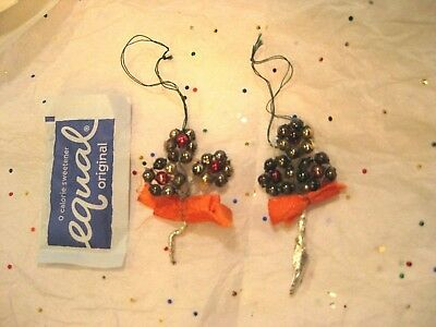 2 Vintage Mercury Beaded Flower Ornaments For A Feather Christmas Tree