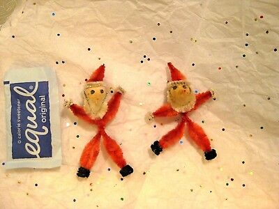 PAIR of RED CHENILLE & SPUN COTTON SANTA CLAUS FEATHER TREE ORNAMENTS JAPAN