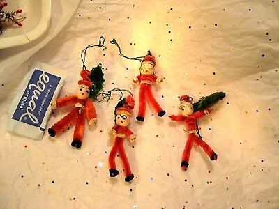 FOUR FEATHER CHRISTMAS TREE ORNAMENTS MADE of RED CHENILLE + SPUN COTTON HEADS