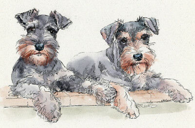 SCHNAUZER PAIR Original Watercolor on Ink Print Matted 11x14 Ready to Frame