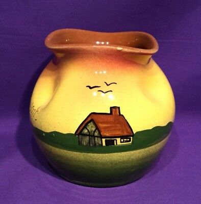 Torquay Devon Ware Pottery Vase Cottage with Seagulls Sunset Colours