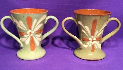 Torquay Devon Ware Pottery Exeter Old Motto PAIR Vases