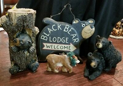 Lot Of 4 Bears Woods Pines Rustic Lodge Cabin Animals Home Decor