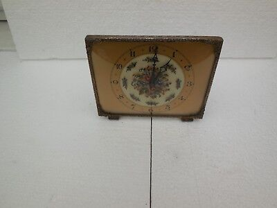 vintage britsh made mantle clock with petite point embroded face brass surroud
