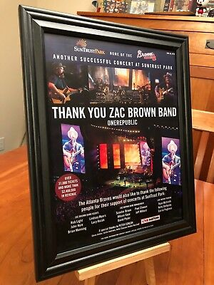 "BIG 10x13 FRAMED ZAC BROWN BAND ""LIVE AT SUNTRUST PARK, ATLANTA - 2018"" PROMO AD"