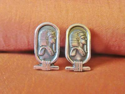 Vintage Solid Sterling Silver Cufflinks Egyptian Ancient King Tutankhamun..Cuffs
