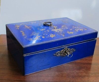 STUNNING ANTIQUE 19th ROYAL BLUE LACQUERED JEWELLERY BOX