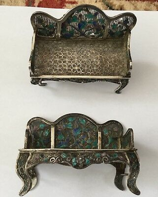 Vintage pos Chinese silver filigree miniature dolls house chairs spare or repair