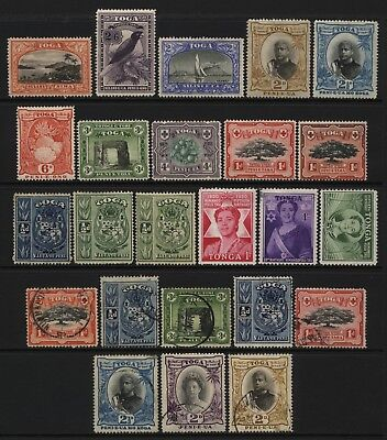 Tonga Collection 24 Early - Mid Stamps Used / Unused Mounted