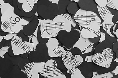 Rustic Heart Wedding Table Decor/Confetti - Sheet Music/Notes & Black Paper Mix