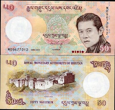 Bhutan 50 Ngultrum 2013 P 31 Unc Lot 5 Pcs Nr