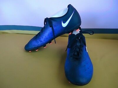 NIKE MAGISTA Football Soccer Boots Size 12 US Mens Black Blue White VGC  #5908