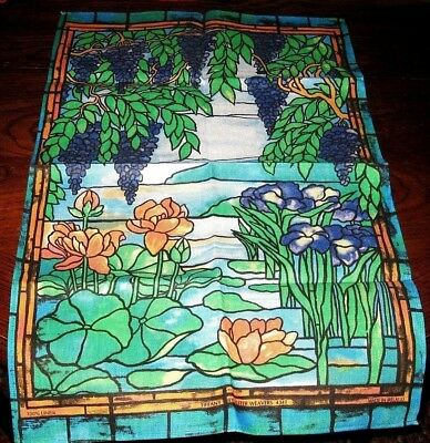 NEW Vintage Water Lily Iris Floral Grapes Linen Towel Ireland Tiffany by Ulster
