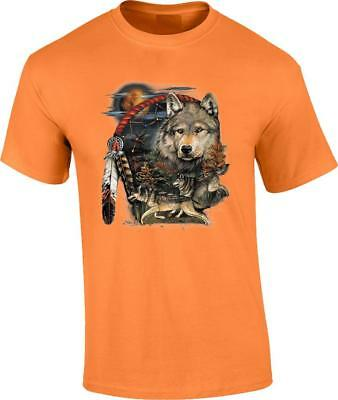 Wolf Tribesman Dreamcatcher T-Shirt Indian Native American Wolves Tee