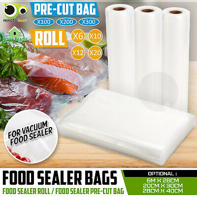 100 200 300 Sous Vide Vacuum Food Sealer Pre-Cut Bags Storage Heat Seal