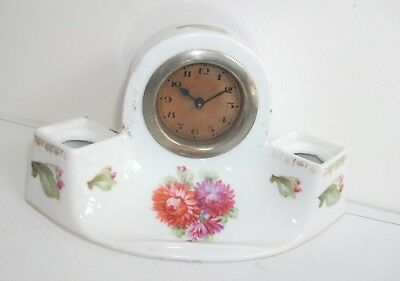 Small Vintage Mantel Clock - Ceramic Pottery Case