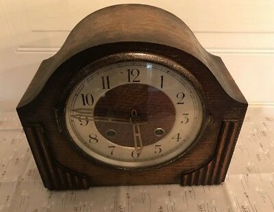 Vintage Chiming Wooden Mantle / Mantel Clock With Key - Foreign Made