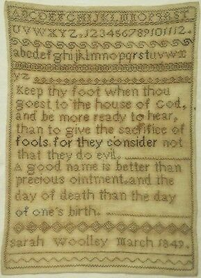 Mid 19Th Century Biblical Quotation & Alphabet Sampler By Sarah Woolley - 1849
