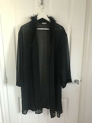 Vintage Black Sheer 1990s Dressing Gown Kimono Marabou Feathers S