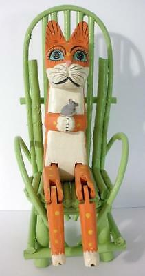 Vintage Folk Art Wooden Shelf Sitter Cat Holding Mouse In Painted Twig Chair