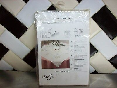 vintage Steffi Embroidery Tablecloth Kit 80 X80 cm Traced pattern Finished Edges