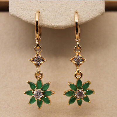 18K Gold Filled - 1.5'' SunFlower Emerald Jade Topaz Zircon Star Dangle Earrings
