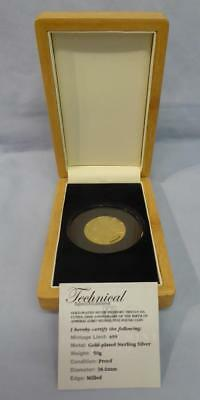 2008 Gold-Plated Piedfort Silver Proof T.d.c. £5 Lord Nelson Coin Orig Box & Coa