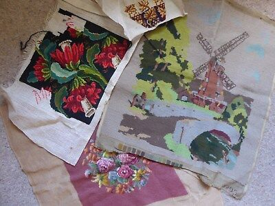 Vintage Tapestry Bundle 4 Finished & Part Done Roses Windmill Floral  Covering