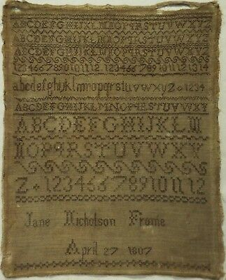 Early 19Th Century Brown Stitch Work Sampler By Jane Nicholson - 1807