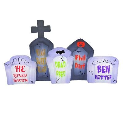 8' Long Airblown Flashing Lights Tombstone Scen Halloween Inflatable Brand New