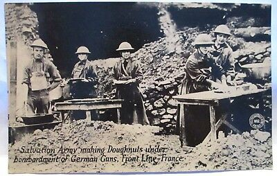 Wwi Photo Postcard Salvation Army Making Doughnuts Bombardment Front Line France