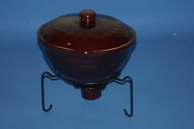 """vintage MARCREST POTTERY DAISY DOT 8"""" COVERED CASSEROLE CHAFFING candle warmer"""