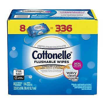 Cottonelle Flushable Cleansing Cloths Fresh Care Refill 336 Ct wipes toilet safe