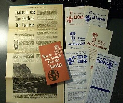 Atsf Santa Fe Rwy - Lot Of 6 Ptt's With Adv / 2 Brochures - Lot Of 8 Pieces