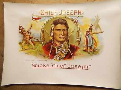 Chief Joseph, original inner cigar label, Chas Breneiser & sons native americans