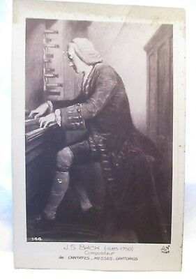 """1920 French Real Photo Postcard """" J.s. Bach ( 1685-1750) Compositeur """" Unused"""