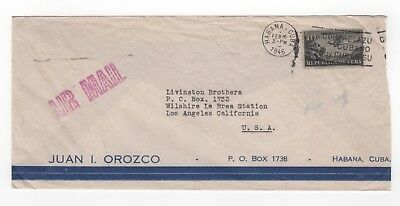 1946 CARIBBEAN Air Mail Cover HAVANA to LOS ANGELES USA Commercial OROZCO Slogan