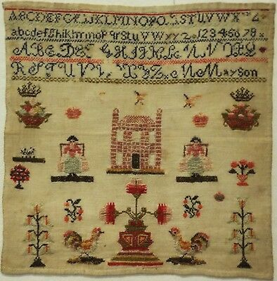 MID 19TH CENTURY HOUSE, MILKMAIDS, COCKERELS & MOTIF SAMPLER BY M.MAYSON - c1845