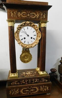 french rosewood inlaid portico clock for restoreation