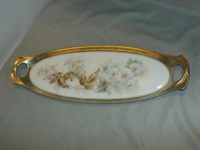 Antique RS Germany Porcelain Oval Handled Tray Heavy Gold Encrusted White Roses