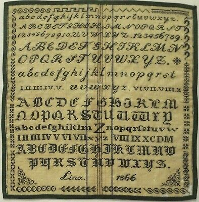 Mid 19Th Century German? Green Stitch Work Alphabet Sampler By Lina - 1866